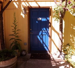 close blue door